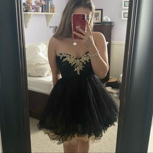 Black Tulle Cocktail Dress with Bust Detailing NWT
